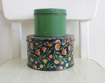 Set Vintage Metal Tins, Biscuit Tins, Vintage Candy Tins, Green Metal Storage, Floral Tins, Green Tin, Pair Vintage Tins, Flower Tin