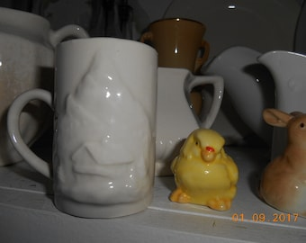 Vintage Pottery White Small 3 inch tall Cup Mug Mountains and House on front