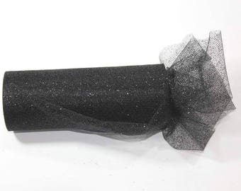 54 x 15 yd  Bolt of Top Quality  GLITTER Tulle Bolt --BLACK