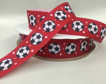 Soccer Pattern Grosgrain  1.5 inch x 5 yards ...On Sale Now..33% Off