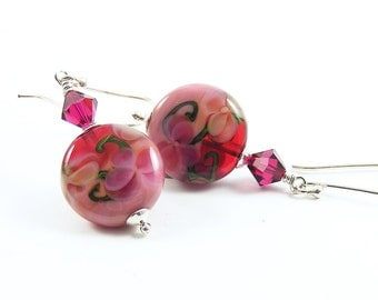 Raspberry Ice Cream Earrings, Rose Pink Lampwork Glass & Sterling Silver Jewellery, Floral Gifts for Her