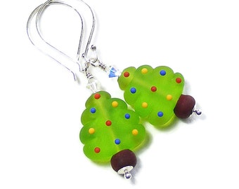 Green Christmas Tree Earrings, Lampwork Glass & Sterling Silver, Festive Xmas Jewellery, Stocking Fillers