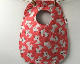 Vintage Puppies Baby Bib - White Dog Baby Gift - Girl Baby Shower Gift - Cute Puppies Baby Gift - Oversize Snap Bib - Cotton Bib
