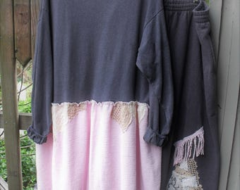 2 Piece Pink and Gray Upcycled Tunic and Pants/ 2-3X Fringey Tunic and Wide Leg Pants/ Vintage Chenille Top-Fleece Pants/ Sheerfab Funwear