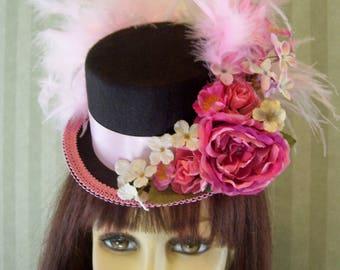 Kentucky Derby Mini Top Hat, Kentucky Derby FascinatoR, Derby Tea party Hat Mini Top hat, PiNk, Alice In WonDerLand  Mini Top Hat