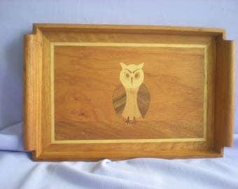 Teak Decorative Tray-Owl Design Inlay Tray-Teak Wood Inlaid Tray