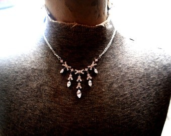 wedding vintage 80s silvertone metal with marcasite and clear rhinestones collar, dangle, bib necklace. Made by Napier.