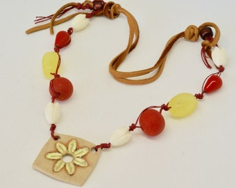 Boho Yellow Necklace, Rustic Floral Necklace, Orange and Yellow Necklace, Bright Colorful Necklace, Trending Leather Necklace, Wearable Art