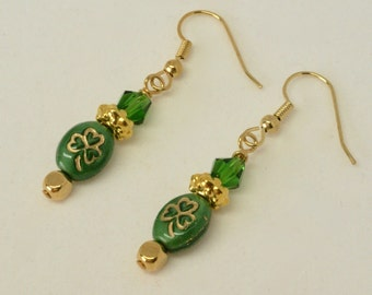 Gold Shamrock Earrings, Green Celtic Earrings, Three Leaf Clover, Gift for Irish, Celtic Jewelry, Lucky Jewelry, Lucky Earrings, Under 20