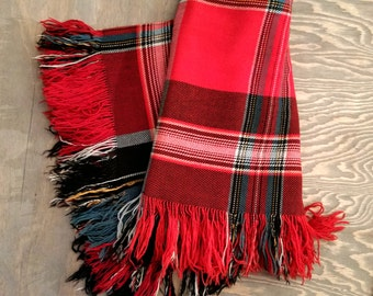 Vintage Red and Green Plaid Wool Camp Blanket, Light Weight Fringed 6 Ft. x 5.5 Ft. Wool Throw Blanket