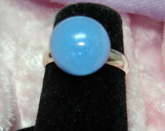 Periwinkle Handmade Fused Dichroic Glass Cab Ring - R164