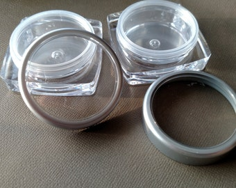 Square Clear Jar w/Silver lid .50 oz 10 ct