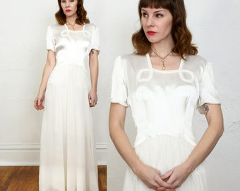 SALE 1940s Satin and Chiffon Wedding Dress