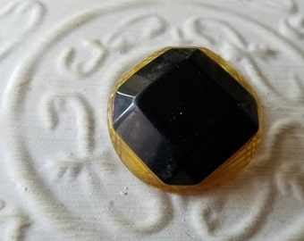 Vintage button lot of 1 unique extra large square novelty button stacked look celluloid, Bakelite, black and amber ( feb 392 17)