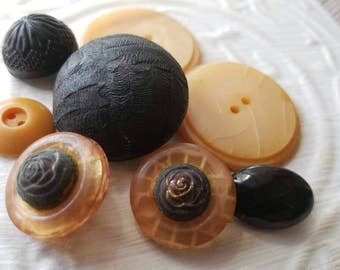 Vintage Buttons - Lot of 8 small to large black and peach assorted  novelty celluloid,, (mar 320 17)