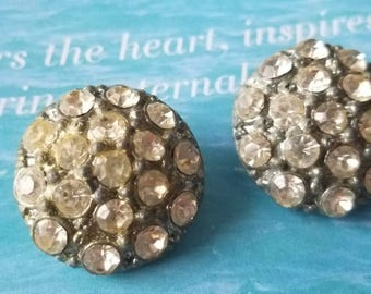 Vintage Button -2  matching beautiful, rhinestones antique silver metal  (apr 334 17)