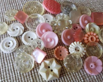 Vintage Buttons - Cottage chic mix of pink, clear and white and lot of 35 old and sweet( may 64 17)