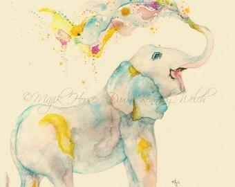 Elephant Art, Elephant Print, Watercolor Print, Watercolor Painting, Elephant Painting, Art Print, Nursery Art, Children's Art, Majik Horse