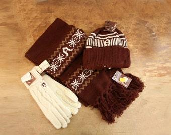 vintage 70s Etienne Aigner Oxblood Burgundy Signature Scarf Hat & Gloves Deadstock