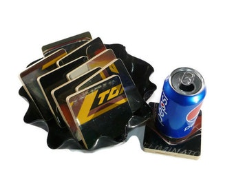 ZZ Top handcrafted from recycled Eliminator album cover wood coasters with record bowl