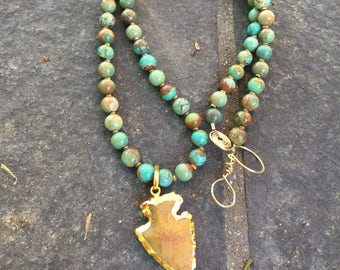 Moukite Jasper Arrowhead and Natural Turquoise  Necklace   Arrowhead Necklace   Tribal Jewelry