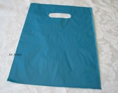 100 Plastic Bags, Blue Plastic Bags, Teal Blue, Gift Bags, Favor Bags, Bags with Handles, Merchandise Bags, Retail Shopping Bags 12x15