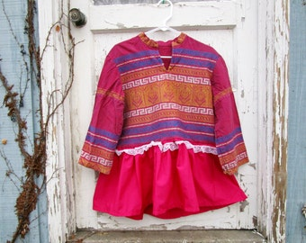 Embroidered Ethnic Tribal Babydoll Festival Cropped Top// Medium Large// Pink Multi Colored//Upcycled Recycled// emmevielle