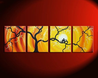 Huge Bird Family Painting Bright Yellow Orange Happy Wall Art Love Birds Cherry Blossoms 64x20 Custom Personalized