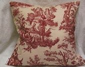 NEW, Toss / Throw Pillow cover, Waverly red and cream toile, 16x16 or 18x18,  four color choices.
