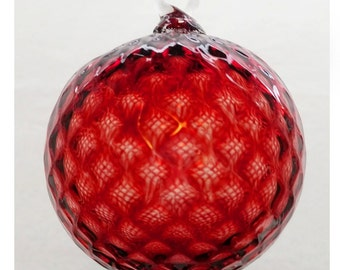 Ruby Red Diamond Facet Blown Glass Ornament 3.5 inches FREE SHIPPING