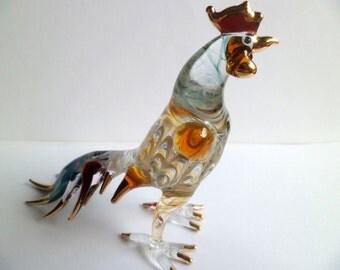 """5.5"""" H Unique CHICKEN Hen ROOSTER Sprial Gold Trim Hand-Blown ART Glass Farm Animal Figurine,Glass Hen,Home Decor,Collectible,Chicken"""