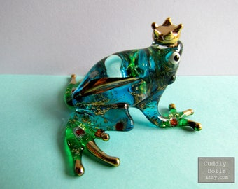 Green Prince Frog Hand Blown Glass Animal Figurine Glittering Hand-Painted Glass Animal Figurine Statue Collectible Gifts Frog Figurine