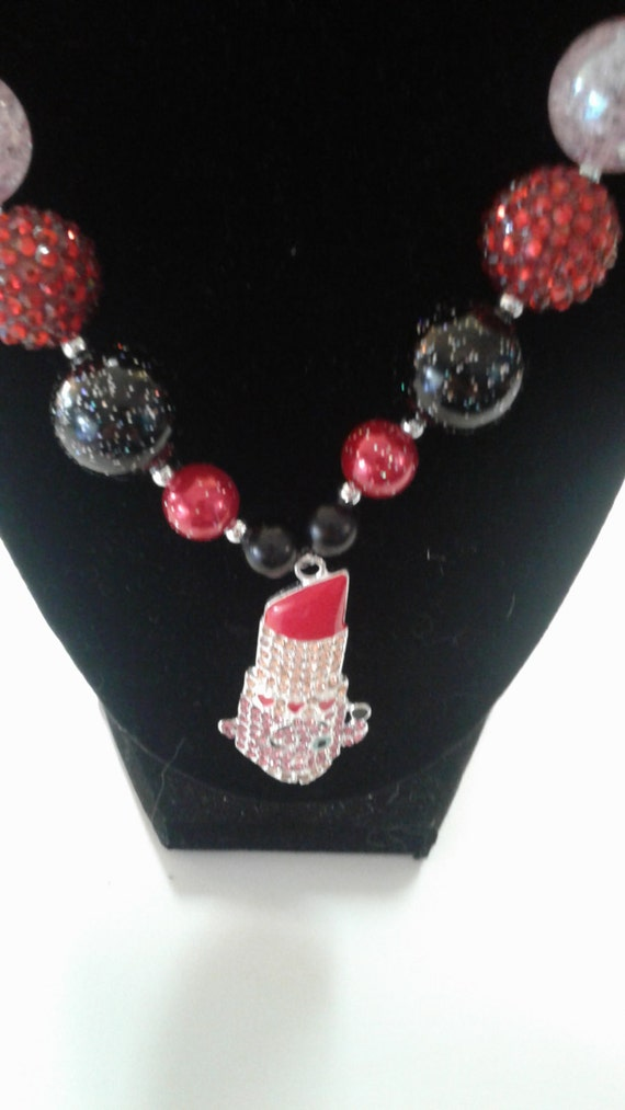 Shopkins Lippy Lips Bubblegum Bead Necklace,Chunky Bead Necklace,Kids Jewelry,Toddler Necklace, Birthday Necklace,Girls Necklace,