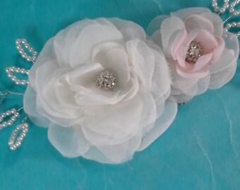 Bridal hair flower set, ivory, Blush, Rose hair set K245 - beaded bridal hair vine accessory