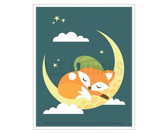 58A Fox Print - Fox Sleeping on Moon Wall Art - Baby Fox Woodland Nursery Decor - Fox Wall Art - Baby Boy Nursery Art - Fox Poster - Fox Art