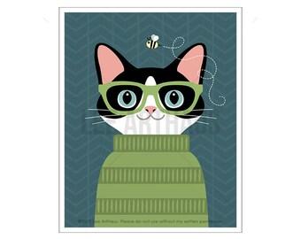253D Cat Art Prints - Black and White Cat Wearing Green Sweater Wall Art - Cat Wall Art - Cat Lover Gift Ideas - Kitten Print - Cat Prints