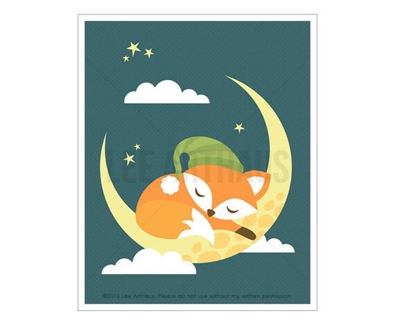 58A Fox Print - Fox Sleeping on Moon Wall Art - Baby Fox Woodland Nursery Decor - Fox Wall Art - Baby Boy Nursery Art - Fox Poster - Fox Art