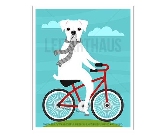 115D Dog Art - White Boxer Dog on Bicycle Wall Art - Dog Prints - Red Bicycle Print - Boxer Dog Wall Art - Dog Theme - Dog Lover Gift