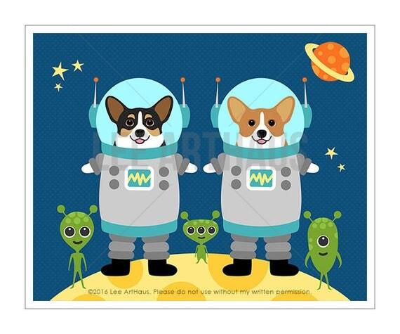 310D Corgi Art - Two Corgi Dogs in Space Wall Art - Astronaut Print - Space Theme Nursery -  Pembroke Welsh Corgi - Cardigan Welsh Corgi