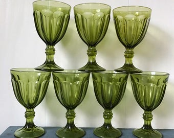 vintage goblets - wine glasses - footed water glasses - green glass stemware - Set of 7