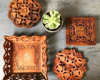 vintage teakwood trivet - carved wood tray - India teak plant stand - round square flower