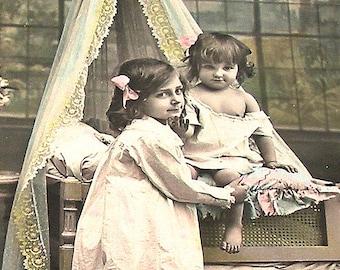 1900s French postcard, Kids in nightclothes, paper ephemera. RPPC real photo postcard