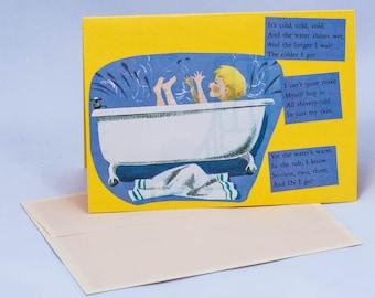 Splish Splash in the Bath. Vintage Greeting Card