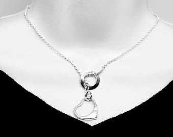 Lariat Style Symbolic Slave Necklace Sterling Silver with Solid Sterling Mock Padlock
