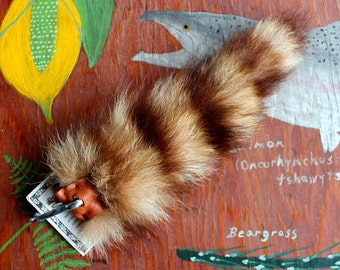 Raccoon tail - real eco-friendly crystal red raccoon fur totem dance tail on extra strong carabiner keychain for shamanic ritual dance RS04