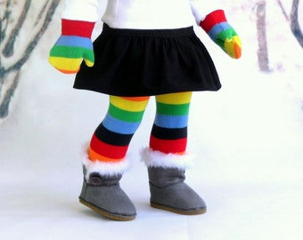 Rainbow Doll Socks & Matching Mittens Gift Set, 18 inch Doll Clothes, Stocking Stuffer, Thigh High Stockings, Winter Mittens