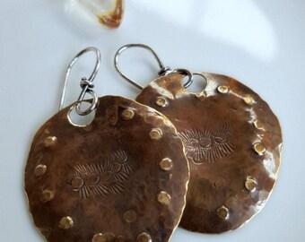 Free Spirit Earrings, Bohemian Relic Jewelry, Boho Chic, Zen Hippie, Timeworn, Hammered Mixed Metal Earrings, Hand Stamped Tribal Design