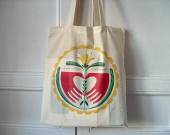 Modern hex signs - happy flower tote bag