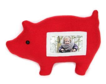 Varken fotolijst / knuffelvarken / rood varken / Furry Frame