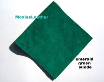 Green suede pieces , emerald suede ,light green suede ,dark green suede